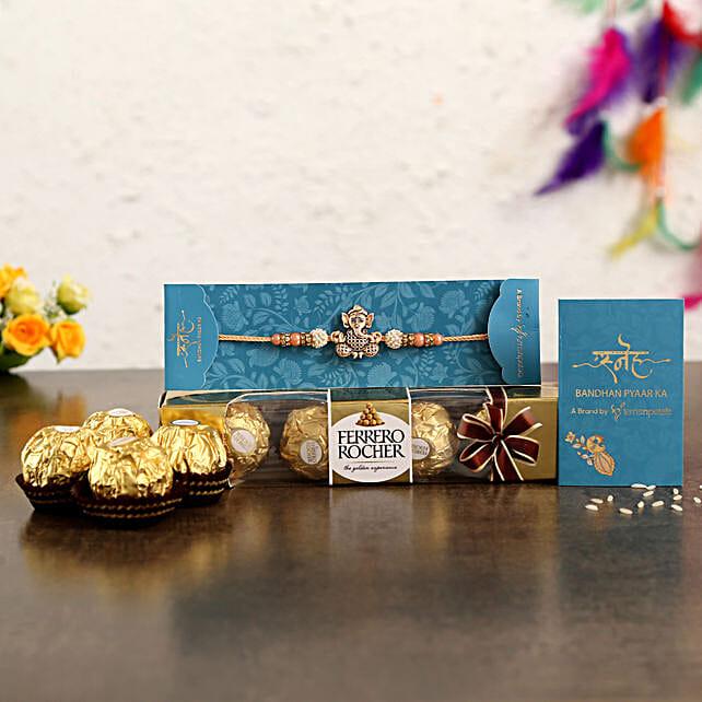Holy Ganesha Rakhi N Ferrero Rocher:Rakhi Gifts for Brother