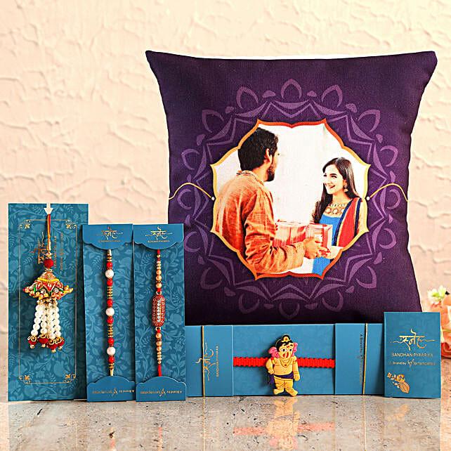4 Rakhis n Personalised Purple Cushion