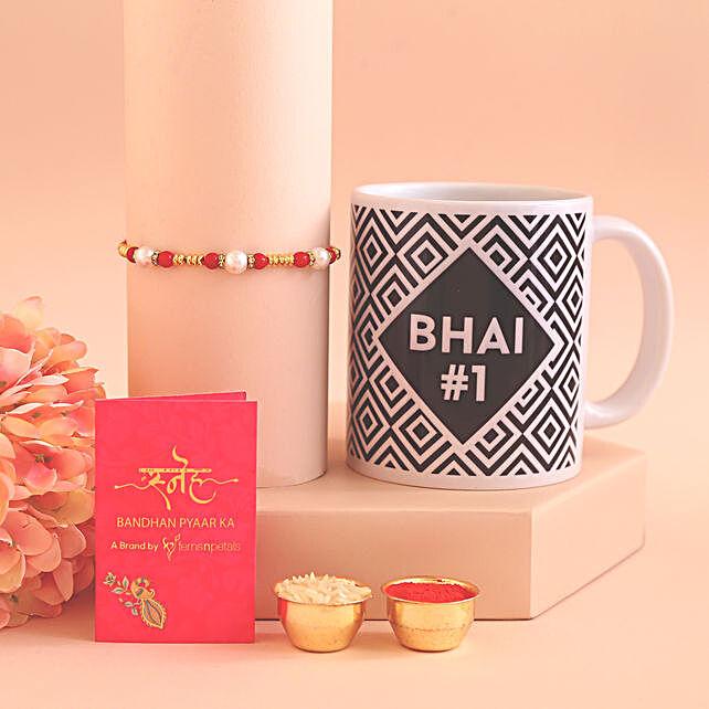 Bhai Number 1 Mug n Pearl Rakhi