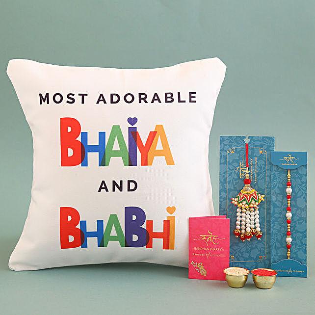 Bhaiya Bhabhi Cushion With Lumba Rakhi Set