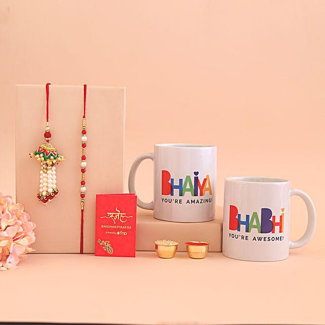 Bhaiya & Bhabhi Mugs With Lumba Rakhi Set
