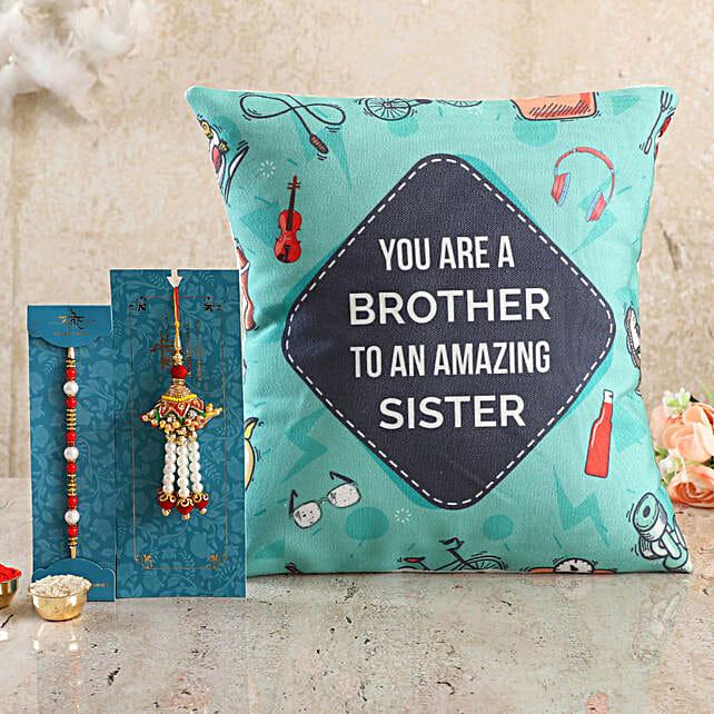 Bro To Amazing Sis Cushion n Bhaiya Bhabhi Rakhi