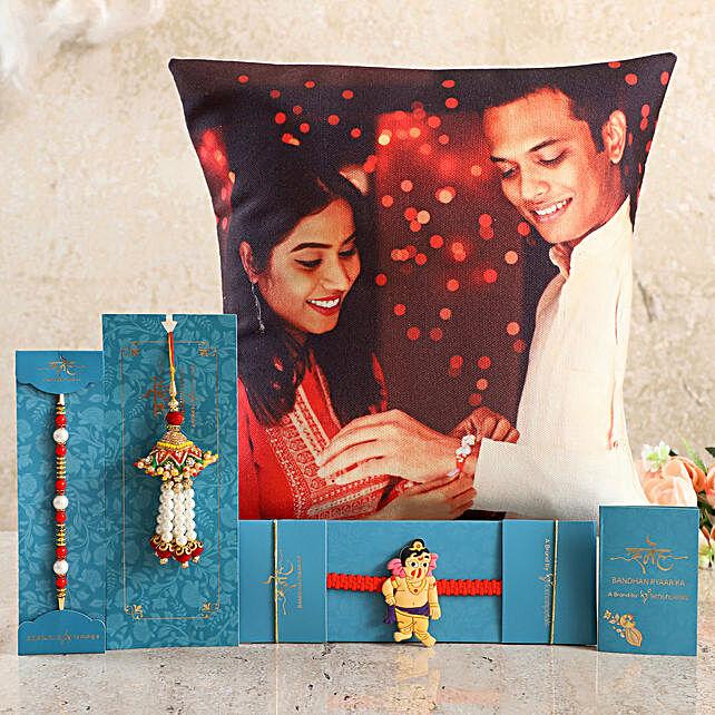 Order Family Rakhi Set & Personalised Cushion