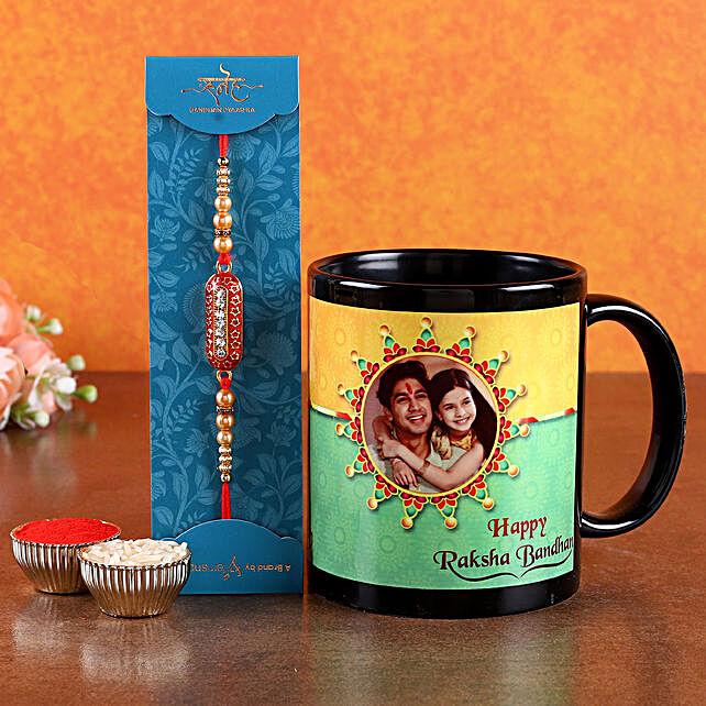 pearl rakhi with printed mug comb for raksha bandhan