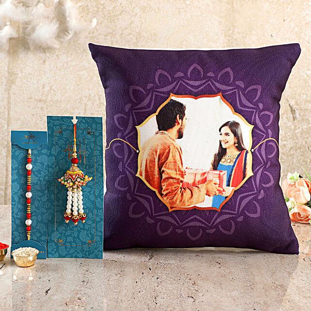 Personalised Purple Cushion n Bhaiya Bhabhi Rakhi