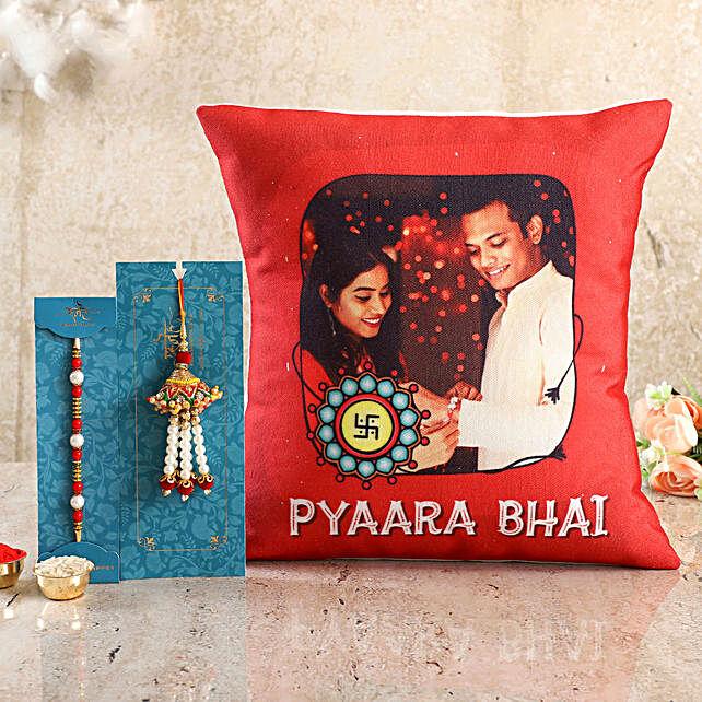 Personalised Pyaara Bhai Cushion n Bhaiya Bhabhi Rakhi