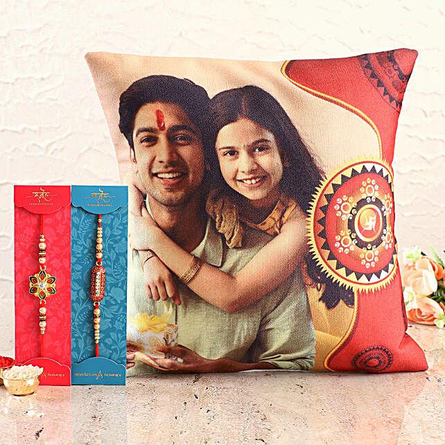 Personalised Siblings Cushion n Designer Rakhi Set