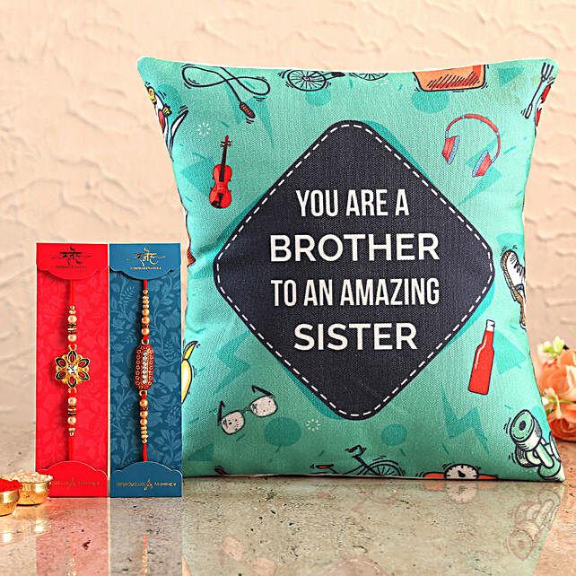 Online Printed Cushion and Designer Rakhi Set