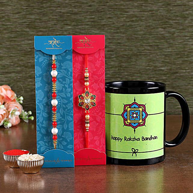 Online Printed Mug with Designer Rakhi Set:Meenakari Rakhi