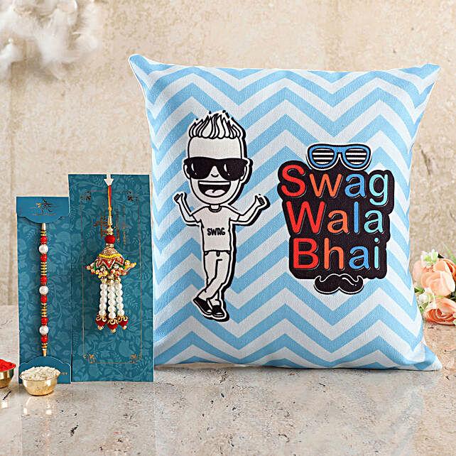 Swag Wala Bhai Cushion n Bhaiya Bhabhi Rakhi