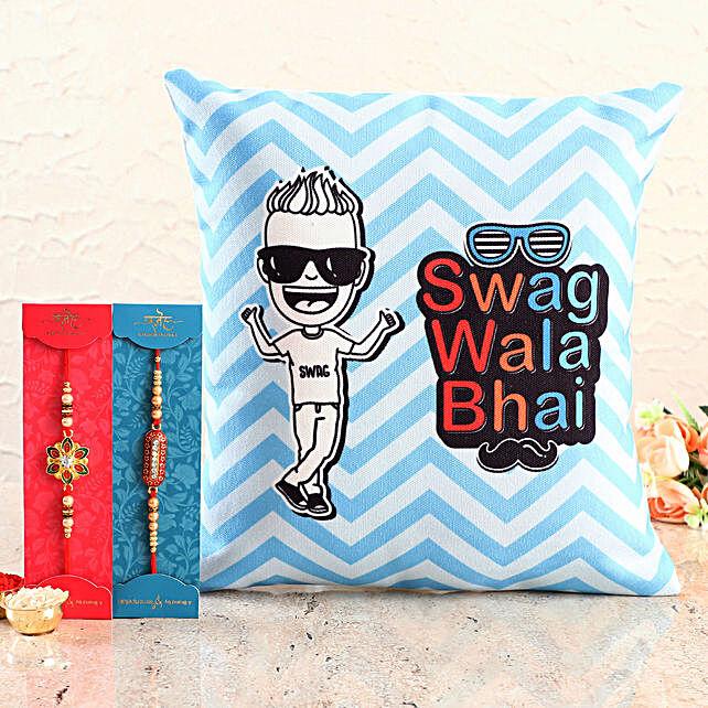Swag Wala Bhai Cushion n Designer Rakhi Set