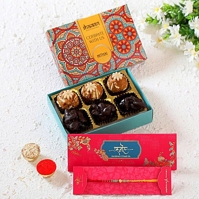 Fancy Rakhi With Chocolates And Besan Laddoo:Rakhi With Premium Sweets