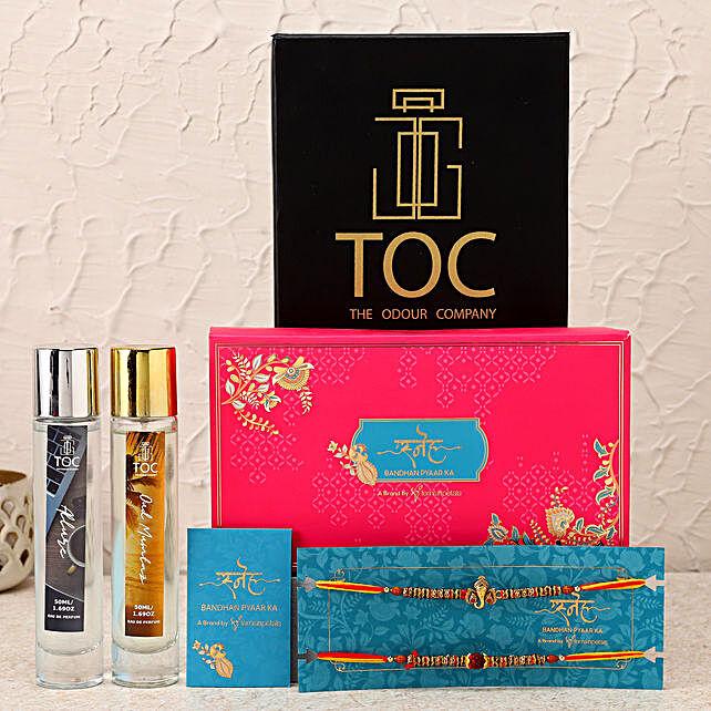Beautiful Rakhi Set & TOC Perfume Hamper