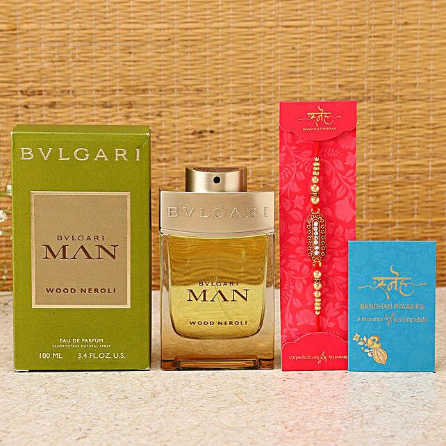 Capsule Rakhi & Bvlgari Perfume Hamper:Rakhi With Perfume