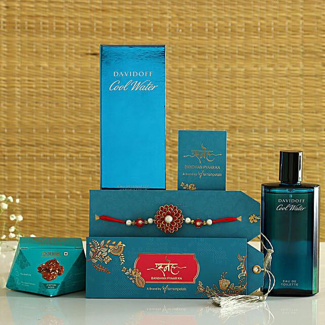 Ethnic Capsule Rakhi With Davidoff Perfume & Sweets:Rakhi With Perfume