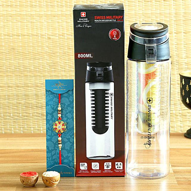 Meenakari Ethnic Rakhi and Swiss Military Bottle Hamper