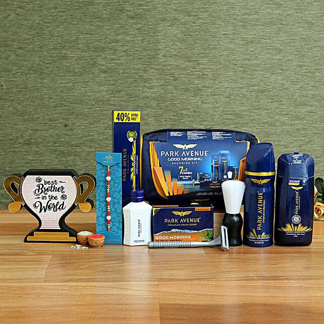 Pearl Rakhi & Grooming Kit With Best Brother Trophy