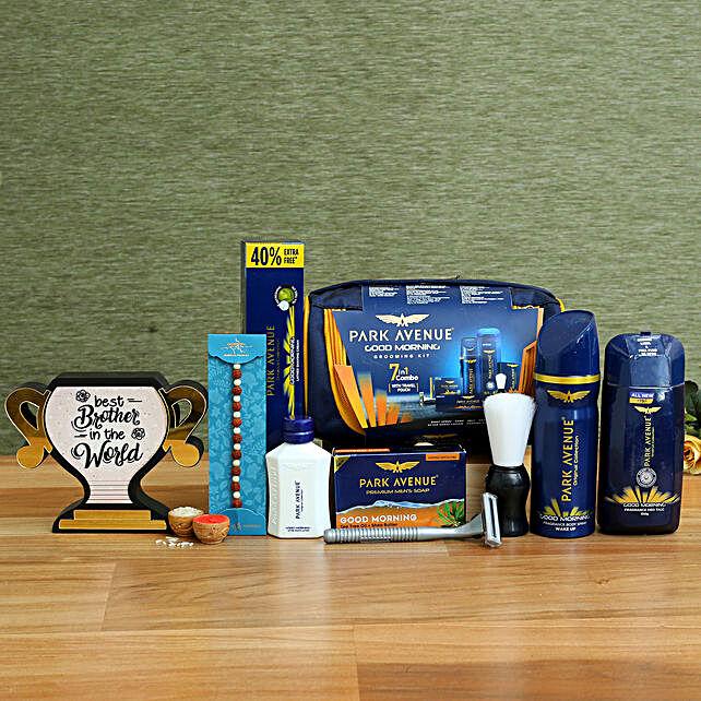 Rudraksha Rakhi & Grooming Kit With Best Brother Trophy