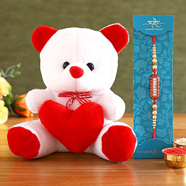 Beautiful Rakhi and Teddy Bear
