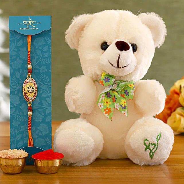 Beautiful Rakhi and Teddy Hamper:Raksha Bandhan Soft toys