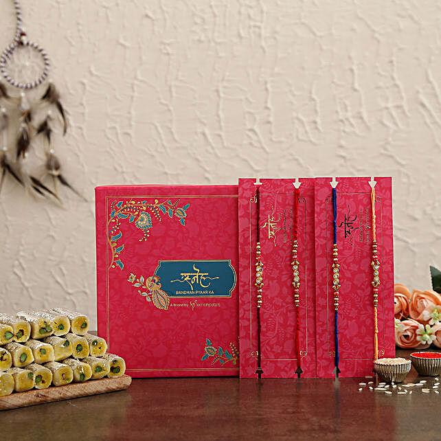 Beads Set of 4 Rakhi N Kaju Rolls Hamper:Rakhi With Premium Sweets
