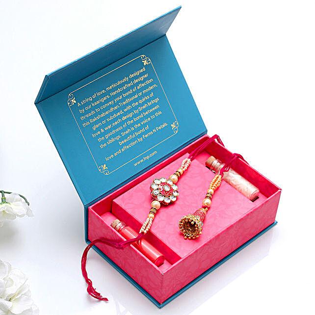 Traditional Meenakari Lumba & Kundan Rakhi Set:Raksha Bandhan Gifts for Brother