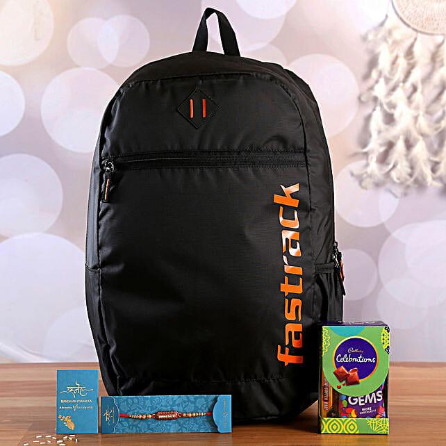 Designer Rakhi With Fastrack Backpack and Chocolates