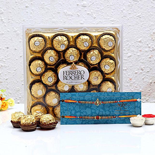 Shree Rakhi Set and Ferrero Rocher:Rakhi Gifts for Brother