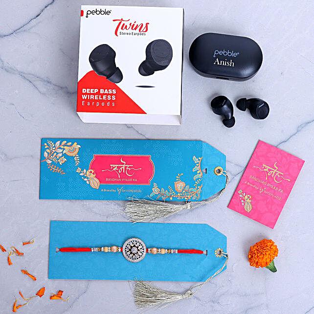 Designer Rakhi And Personalised Pebble Wireless Earbuds