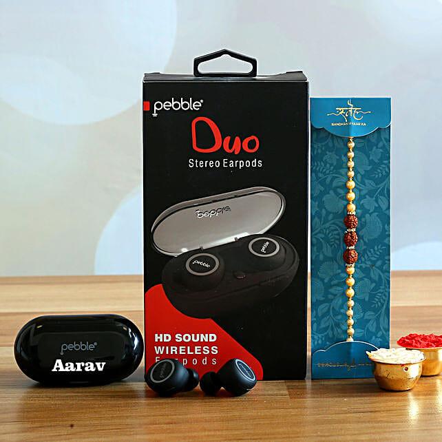 Rudraksha Rakhi And Personalised Pebble Wireless Earbuds