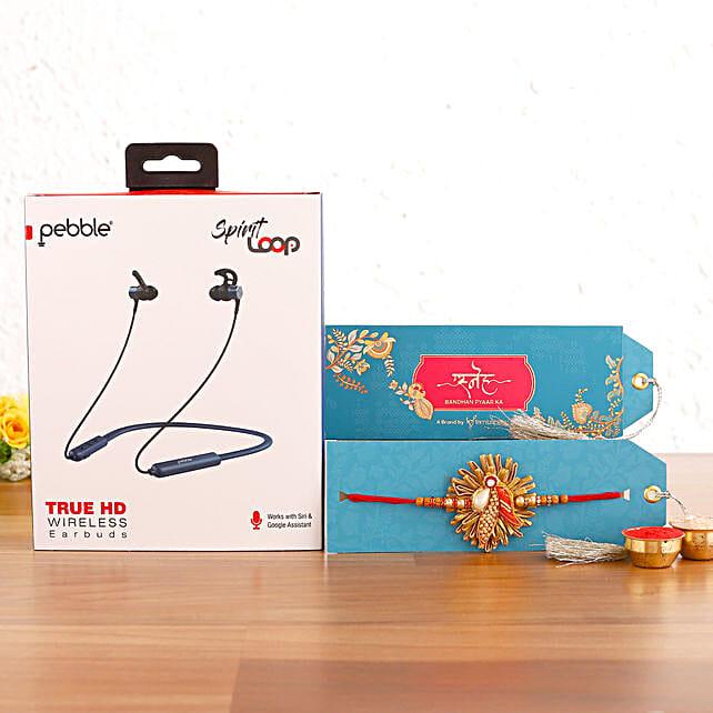 Zardosi Rakhi & Pebble Spirit Loop Neckband Hamper:Rakhi With Gadgets