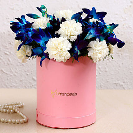 Blue Orchids & White Carnations In FNP Signature Box