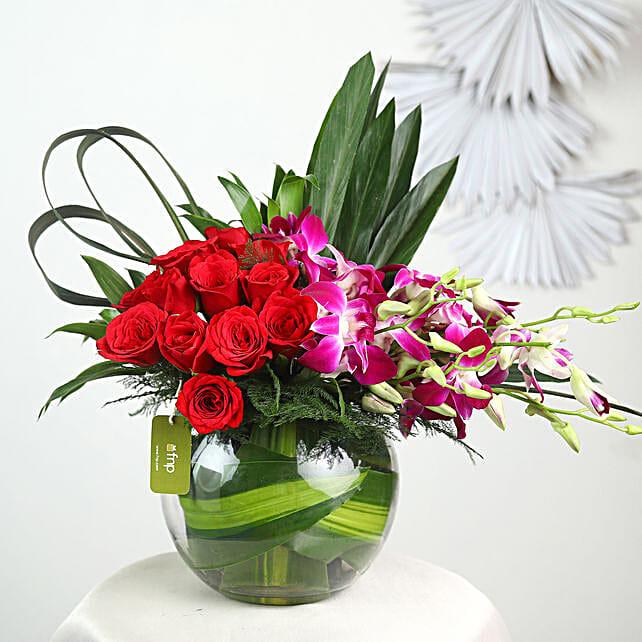 Orchids & Red Rose Arrangement
