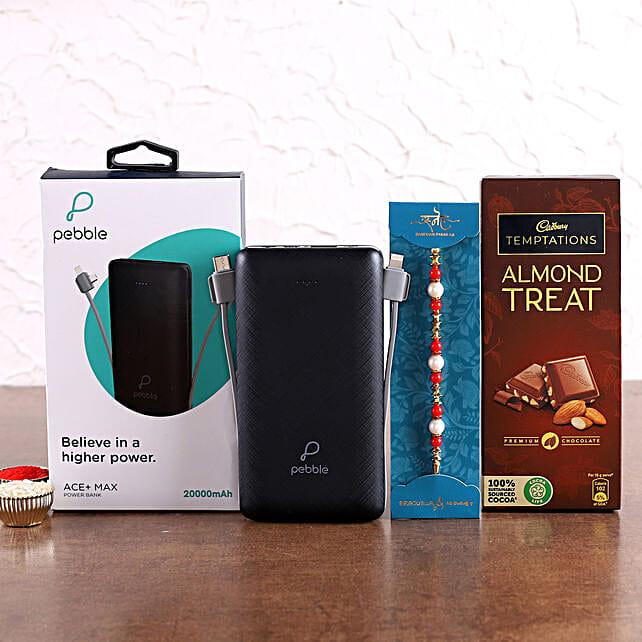 Ethnic Pearl Rakhi and Pebble Ace+ Powerbank Hamper:Rakhi With Gadgets