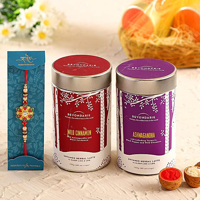 Alluring Meenakari Rakhi and Herbal Tea Combo