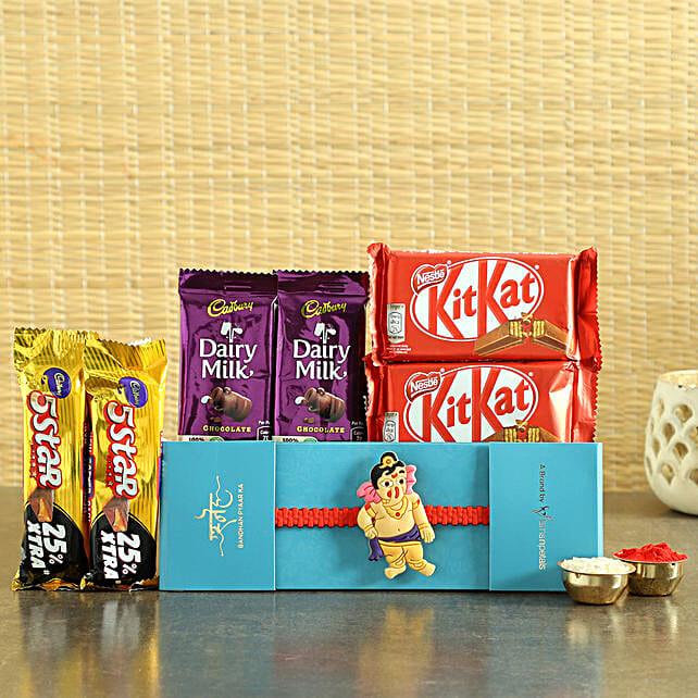 Bal Ganesha Rakhi & Chocolates Hamper- Hand Delivery:Send Cartoon Rakhi