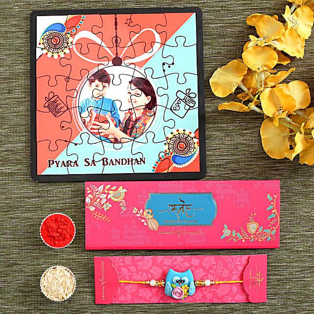 Cute Kids Rakhi & Personalised Puzzle Hamper:Personalised Toy-n-games