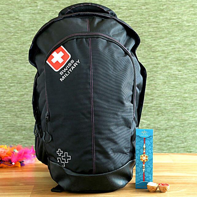 Meenakari Rakhi and Swiss Military Backpack Hamper