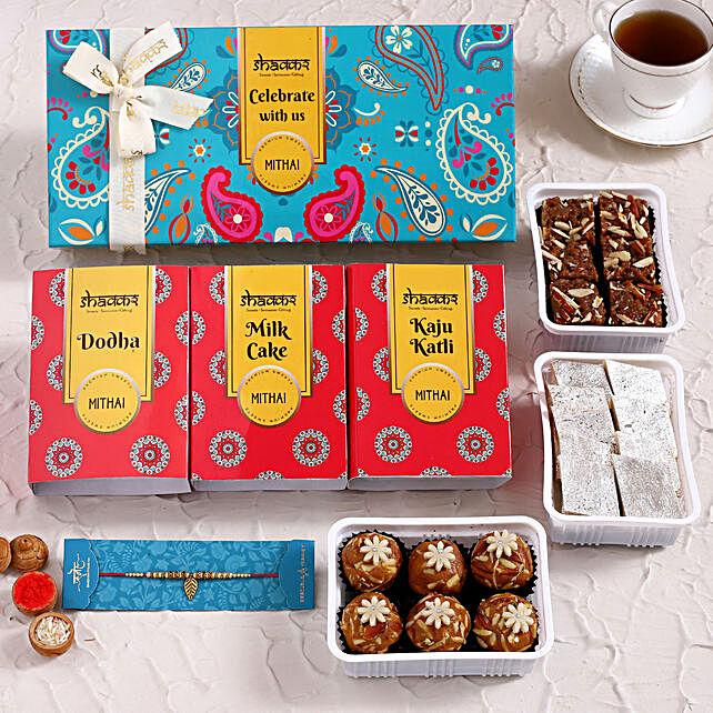 Fancy Rakhi and Delicious Sweets Hamper:Rakhi With Premium Sweets