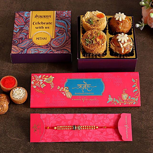 Fancy Rakhi With Milk Cake and Besan Ladoo:Rakhi With Premium Sweets