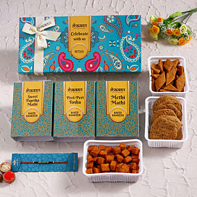 Pearl Rakhi Set and Delicious Savoury Boxes