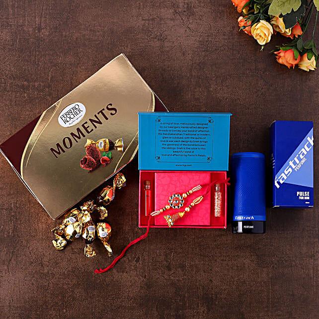 Bhaiya Bhabhi Rakhi Set With Chocolates N Men Perfume:Rakhi With Perfume