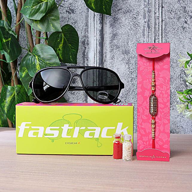 Capsule Rakhi N Fastrack Mens Pilot Sunglasses:Buy Sunglasses