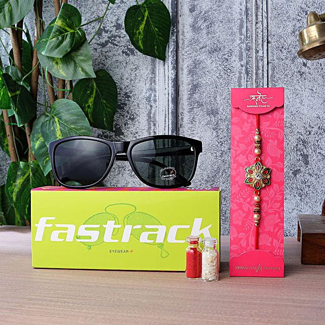 Meenakari Rakhi N Fastrack Mens Sunglasses:Buy Sunglasses