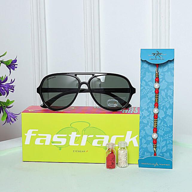 Pearl Rakhi N Fastrack Mens Pilot Sunglasses:Sunglasses