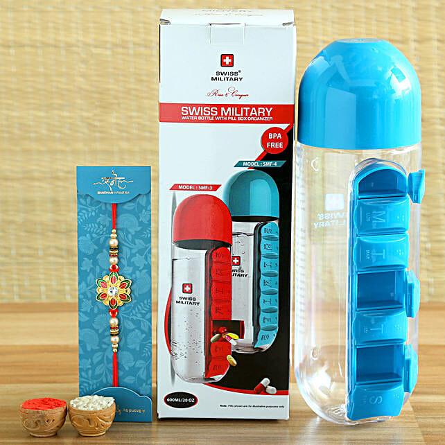 Designer Meenakari Rakhi and Swiss Military Bottle Hamper:Rakhi With Accessories