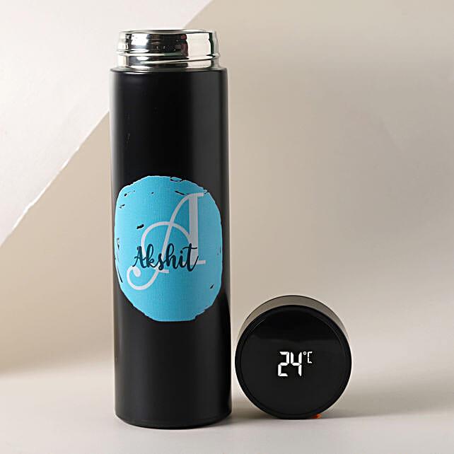 Personalised Black LED Temperature Bottle:Personalised Water Bottles