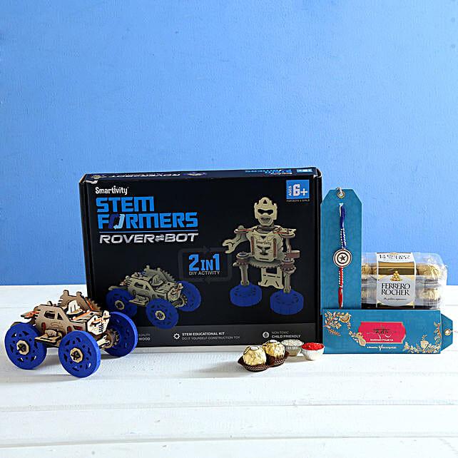 Captain America Rakhi and Rovers Bot Hamper