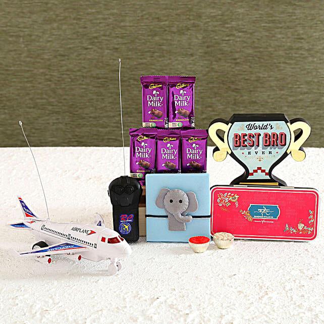 Elephant Kids Rakhi and Toy Plane Hamper