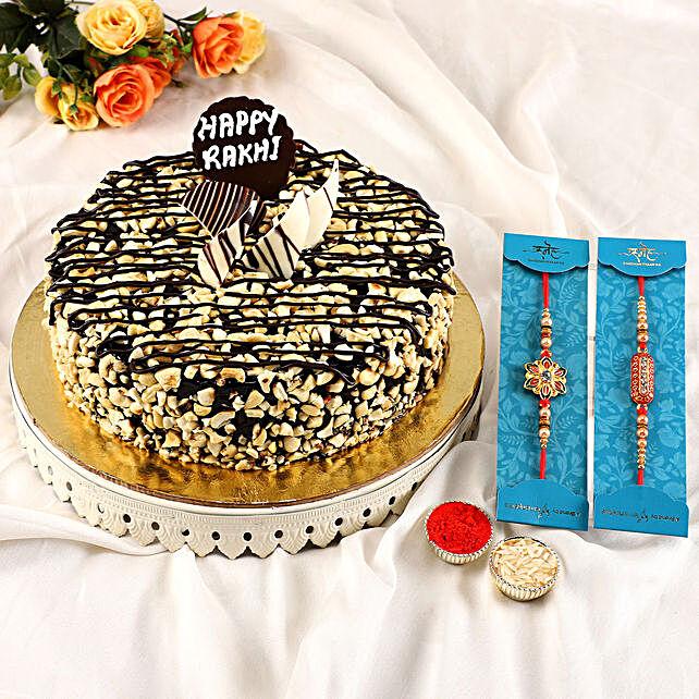 2 Premium Rakhis N Choco Crunchy Cake:Order Rakhi with Cakes
